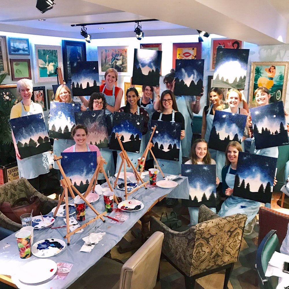 Group picture with all the beautiful midnight painting scenes!