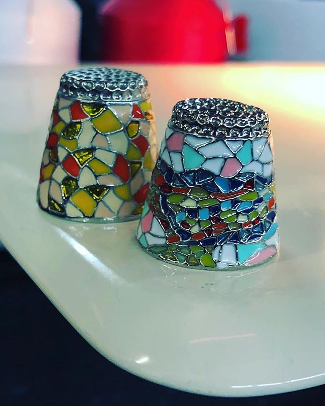 We love our new thimbles from Barcelona! #sewing #mosaic #barcelona #thimble 💚💚