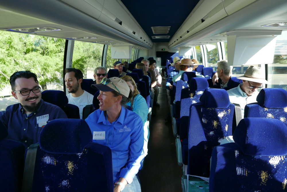All aboard! Here's the group at the start of the day on the way to our first stop at Desert Trees.
