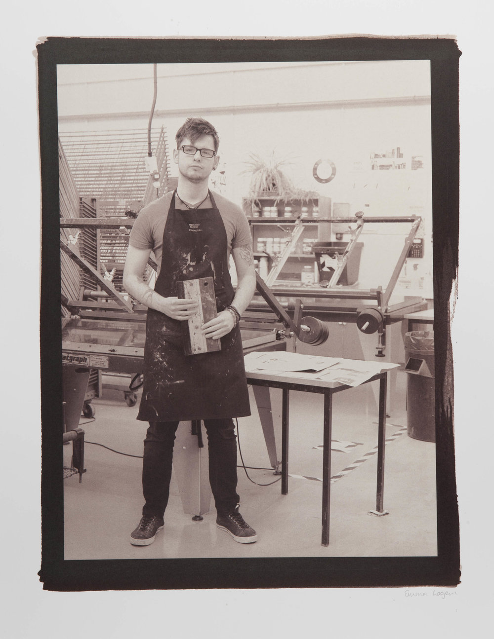 "Hand Made Crafts People. Screen Printer. Digital Negative Salt Prints. Original size - 16x20""."