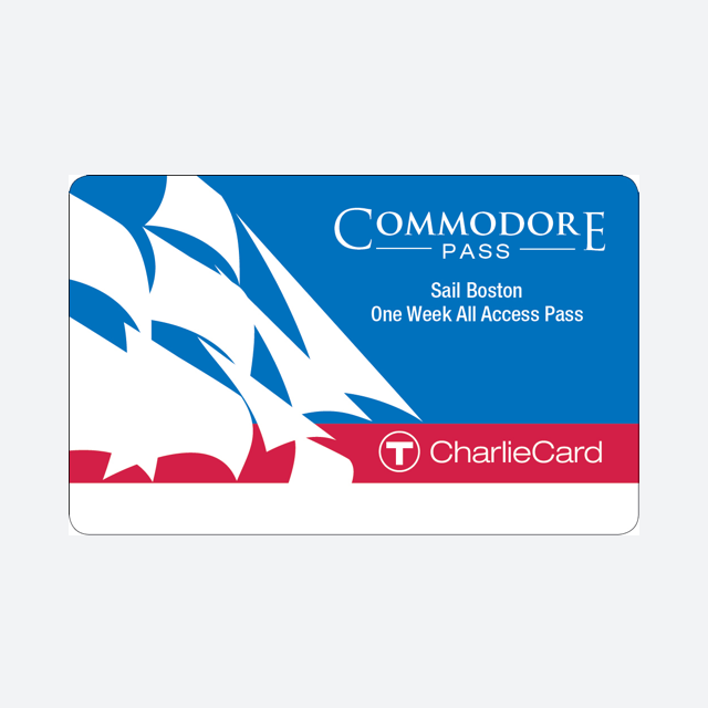 Commodore Pass $25.00 Valid for unlimited travel on the Bus and Subway for 7 days during the Sail Boston event, and unlimited use on the following MBTA Sail Boston express shuttle buses June 17-21, 2017: ·        JFK/UMass to Castle Island: Runs June 17 only ·        Sullivan to Charlestown Navy Yard: Runs June 17-21