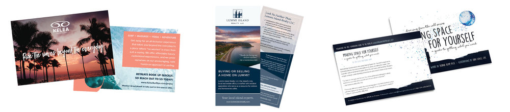 Different branded print collateral.