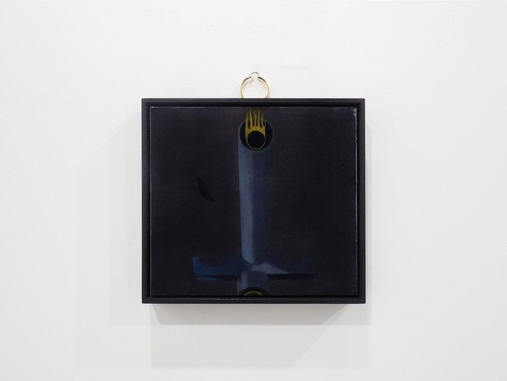 Bouche à feu, oil on oak, earring, plaqued metal, 25,5x23 cm