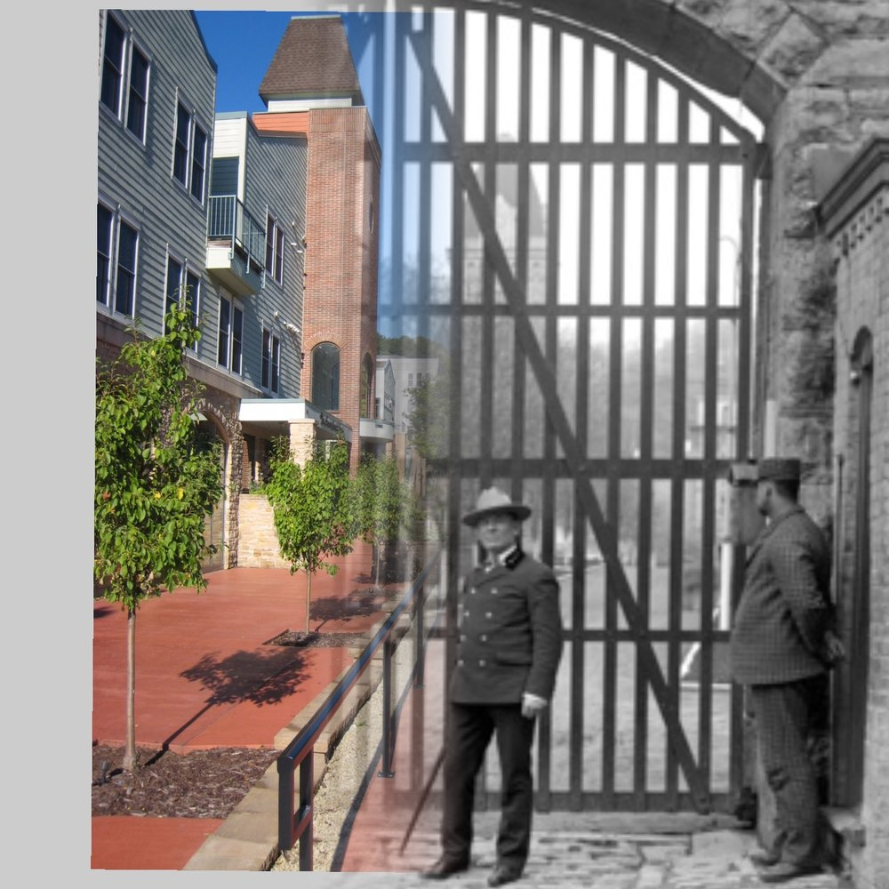 """Time-Tunnel"" photo morph that takes you on a journey from 2016 to 1907 at the same location in Stillwater.  The towers in the 2016 part of the photo are in the exact location as the original towers in the prison.  Today, this location is home to Terra Springs Conodominiums.  Photo credit is Mr. John Runk for the historical photo, courtesy of The Stillwater Public Library and R.Molenda for the 2016 photo."