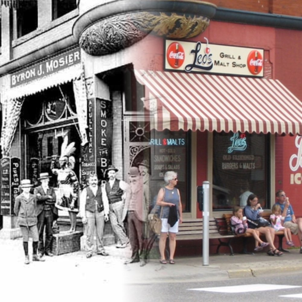 Nobody from 2016 even sees the people standing outside the tobacco store at the turn of the century.  Historic Photo credit is to Mr. John Runk, courtesy of The Stillwater Public library. The 2016 photo credit is R.Molenda.