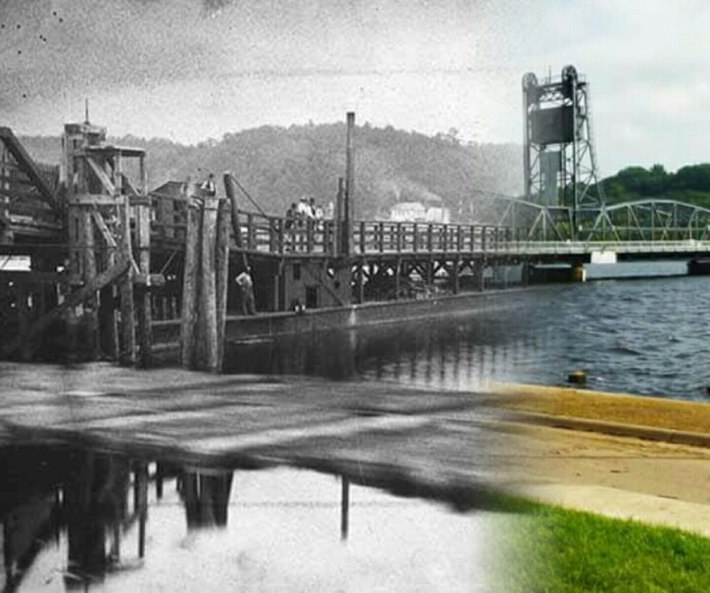 "This photo is a ""Time Tunnel"" photo done by Mr. Dick Marlow. The historical photo is from the John Runk Collection of the Stillwater Public Library. Imagine yourself walking from 1875 across the wooden bridge onto the lift bridge in 1931."