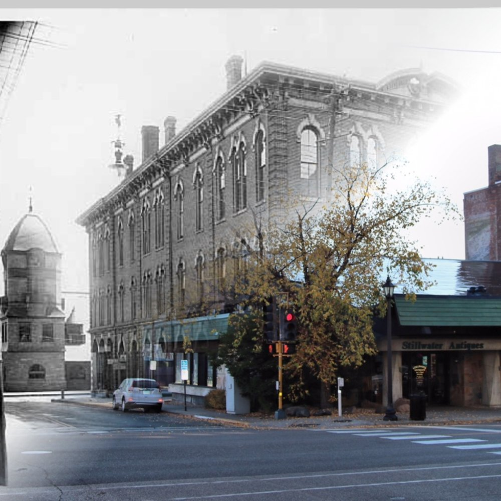 Time-Tunnel between 1914 and 2016 at the SE corner of Myrtle and Main Streets. Photo Credit, Stillwater Public Library John Runk Collection, Tom Wieland and Bob Molenda.