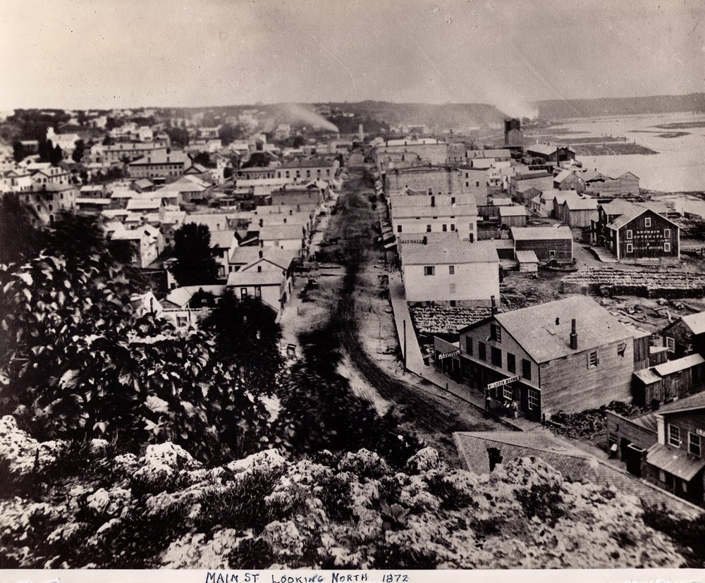View north from the top of the South Main Street Stairs in 1872. This photo is from the John Runk Collection, courtesy of the Stillwater Public Library. This was a period of high activity for the lumber industry in Stillwater.