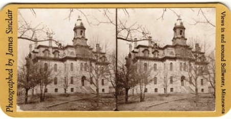 This is an example of a stereopticon set of images used in the 1870's to show 3D images of scenic places. This one was photographed by James Sinclair, ca. 1870's courtesy of the New York City Public Library. The subject is of course, The Lincoln School.  Much like today, Stillwater was a great place to take photographs even when photography was in its infancy.
