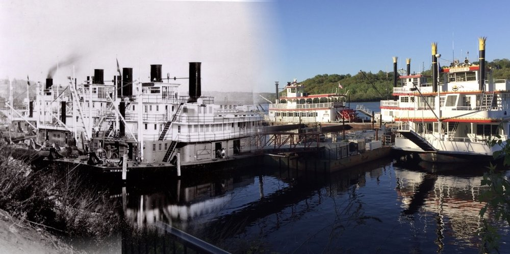 "This is a ""Time Tunnel"" photo that takes you from 2017 to 1921 at this same location. The 2017 location is the St. Croix Boat &Packet Company that conducts tourist excursions along the St. Croix River near Stillwater.  The historical photo is credited to Mr. John Runk, courtesy of the Stillwater Public Library, St. Croix Collection. The morphed photo is credited to R. Molenda."
