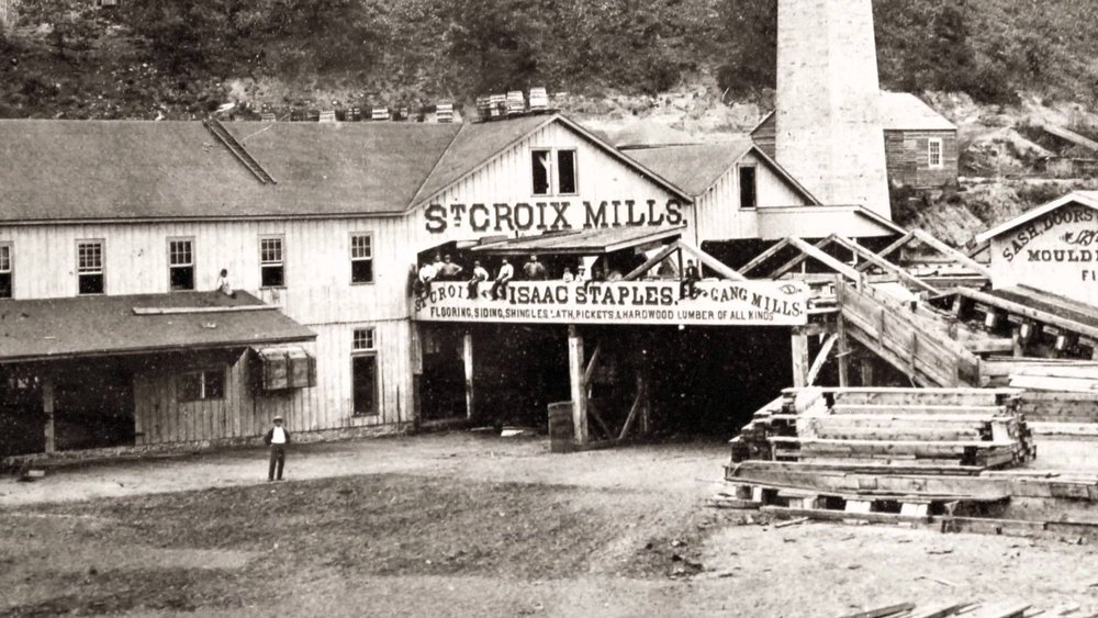 "This is a photo from the John Runk Collection at the Stillwater Public Library. It was taken ca. 1870. This location is on north Main Street, just below Pioneer Park. This was not the first sawmill in Stillwater and was purchased by Isaac Staples in 1869.   To view a ""Time Tunnel"" between 2017 and 1870 at this same location, just click anywhere on the photo above."