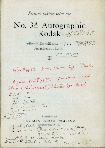 Instruction Booklet with Receipt signed by Mr. John Runk, January 12, 1925. Photo from Allen Lewerer Family Archives, 2018