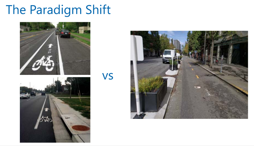 Slide from  Bike Lanes 2.0 presentation by Peter Trinh , Multi-Modal Engineering Supervisor for Seattle Department of Transportation