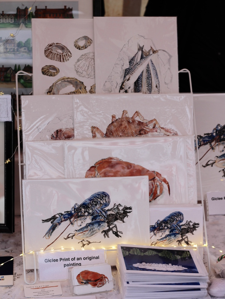Seafood inspired Giclee prints by Lucy Clayton at The Pantiles Market, Tunbridge Wells Kent