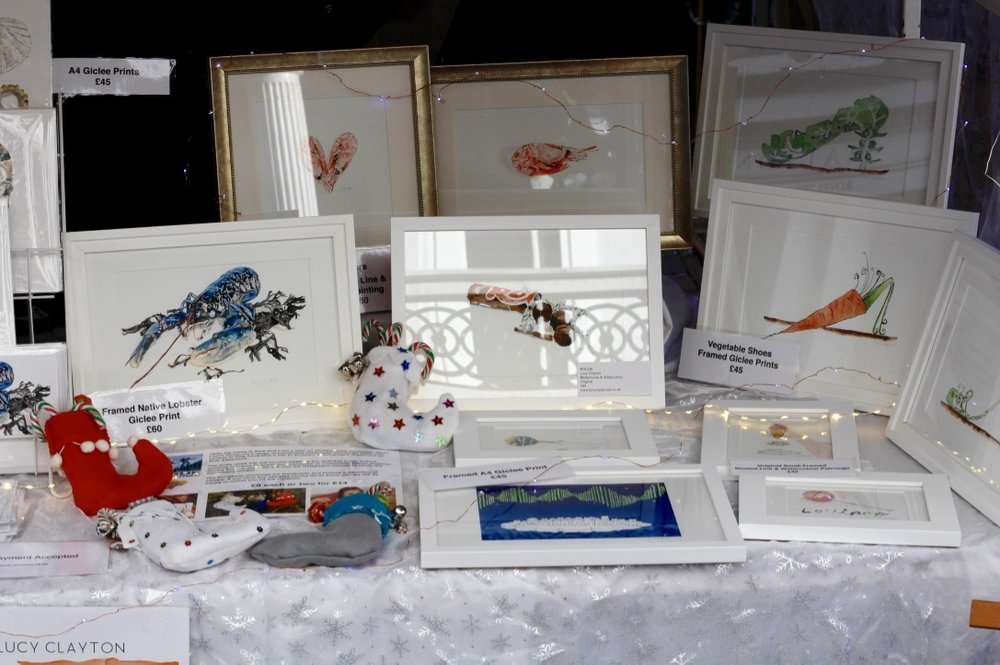 A selection of framed original blotted line paintings and Giclee prints by Lucy Clayton