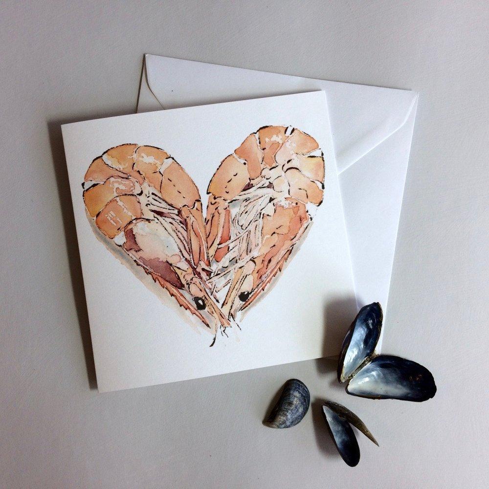 Prawn Heart, greetings card