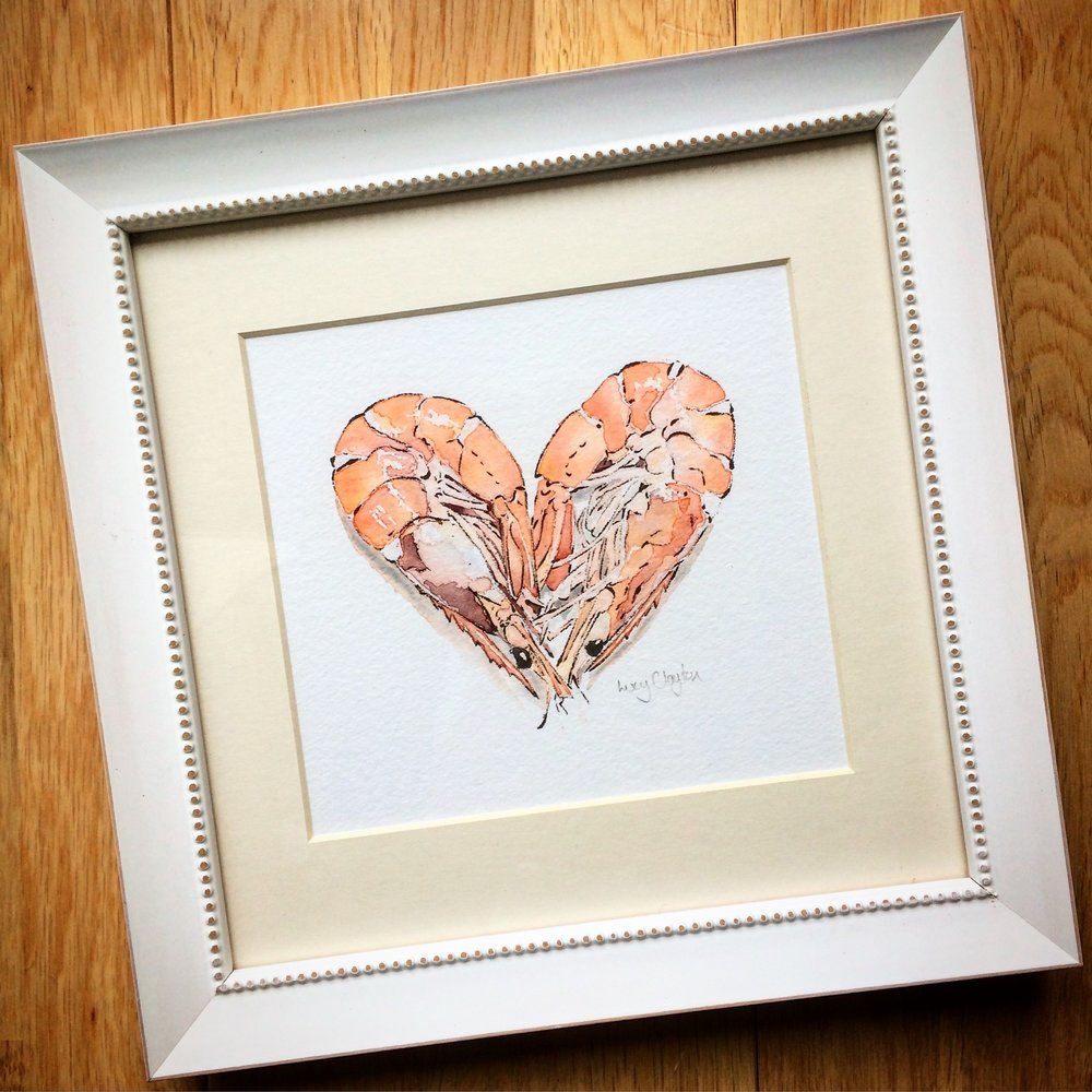 Framed Prawn Heart Giclee Print by Lucy Clayton
