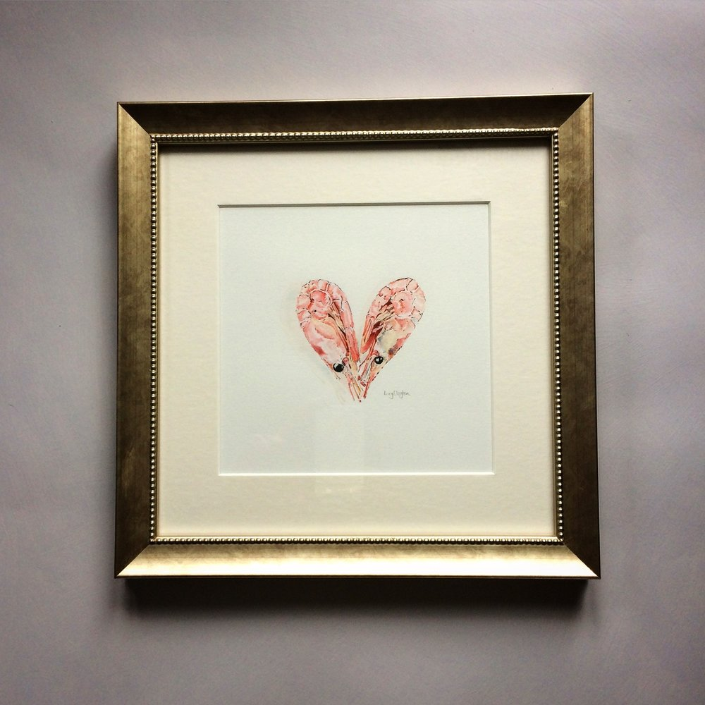 Pink Prawn Heart - framed original blotted line and watercolour painting