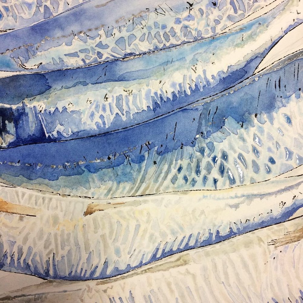 Fish scales, gradual build up of pale watercolour washes