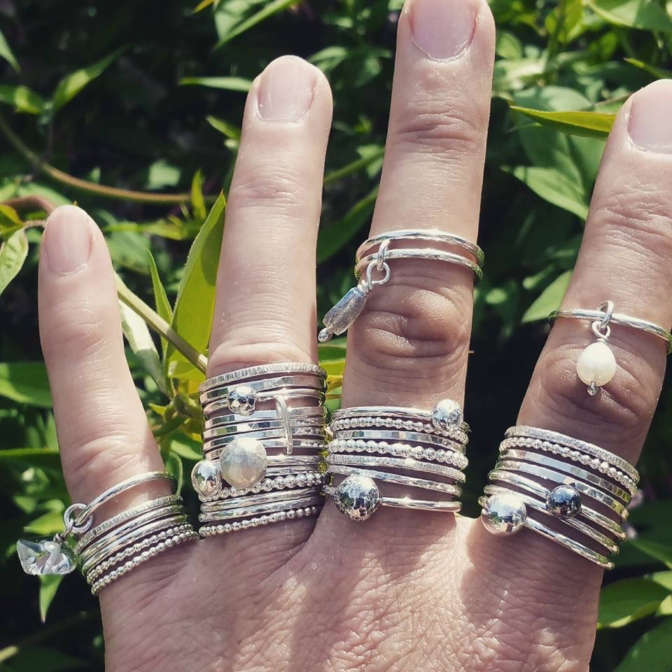 Hand Made Silver Stacking Rings by CooCoo Jewellery