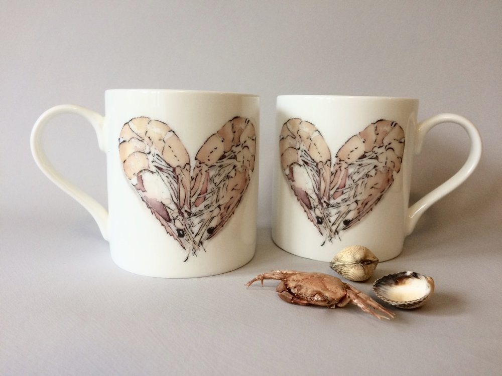 Prawn Heart Bone China Mug
