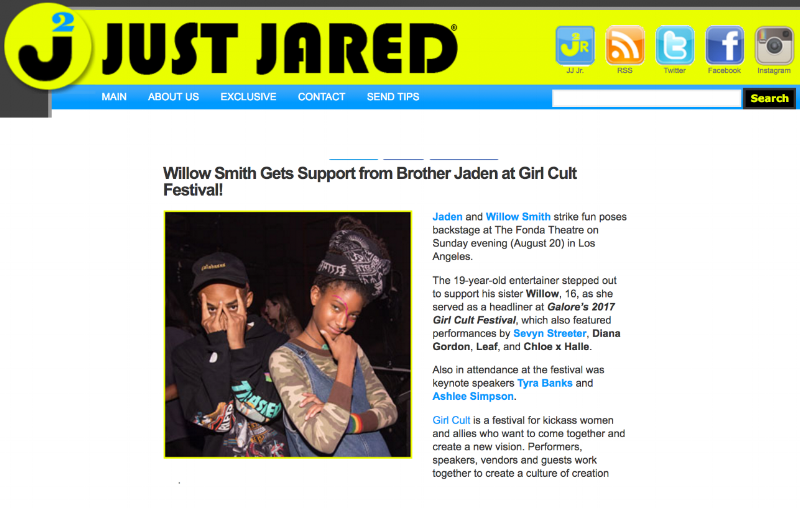 "JUST JARED - ""Willow Smith Gets Support from Brother Jaden at Girl Cult Festival"""