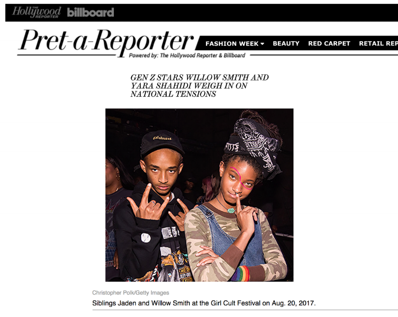 "Pret-a-Reporter (by The Hollywood Reporter and Billboard) - ""Gen Z Stars Willow Smith and Yara Shahidi Weigh In on National Tensions"""