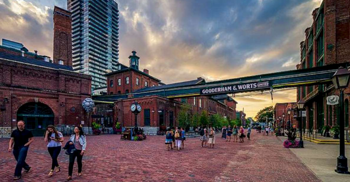 Distillery District - If you are looking for a place with history, this is where you want to be. Take advantage of seasonal events that happen in this area like the Christmas Market and the Light Festival!