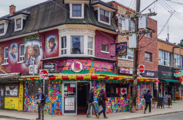 Kensington Market - For busy downtown dog owners, walking around Kensington Market would be a fun way to spend your afternoon or weekend! Be sure to check out Café Novo where you can have your buddy with you at the patio.