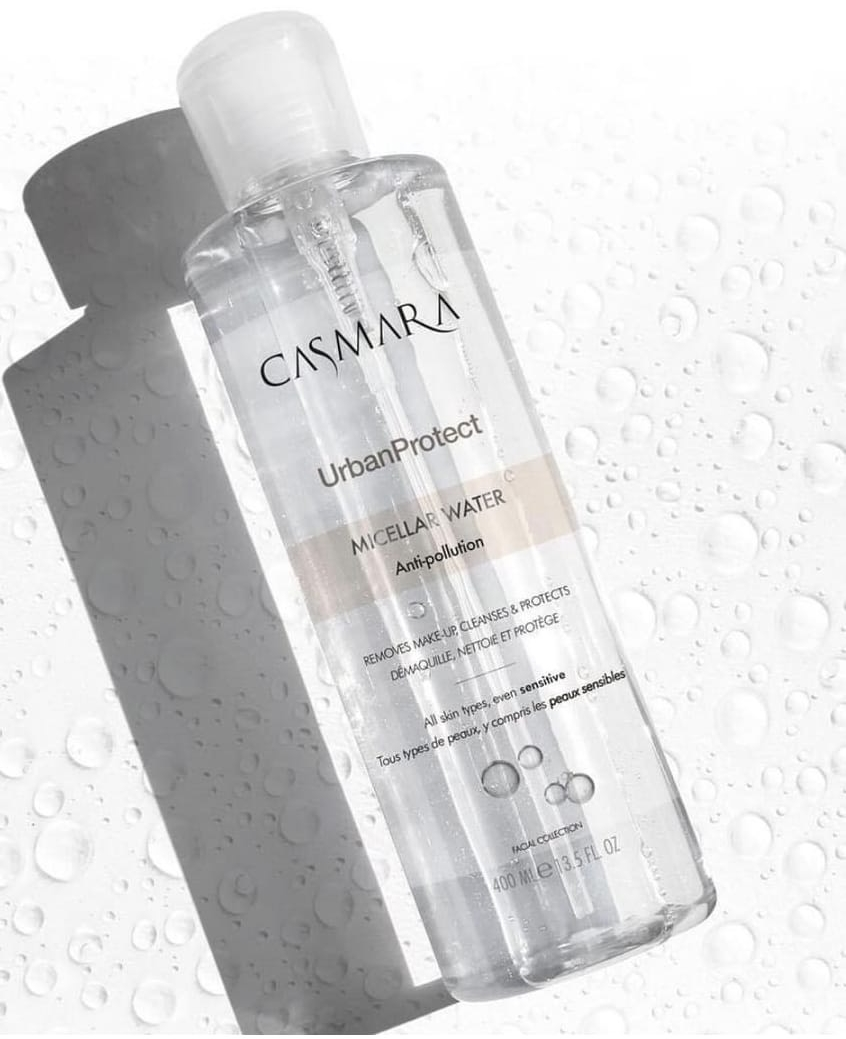 NEW Micellar Water  - Antipollution400 ml / 13.5 fl.ozRRP €18.00Removes make-up, cleanses and protects. Its innovative anti-pollution active, protects the skin and creates a shield that reinforces the protective barrier of the skin. At the same time, micelles act as magnets trapping superficial dead cells, contaminating particles, makeup and excess sebum. The result, skin free of impurities and soft.