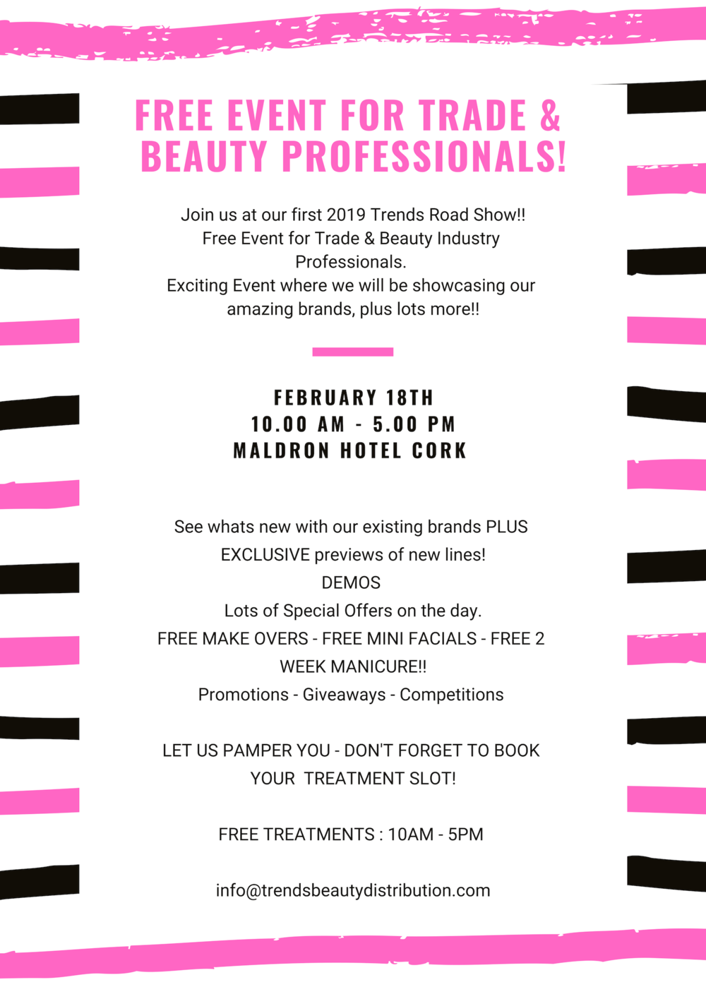 Trends Beauty Cork Road Show 2019 - Free Event for Industry