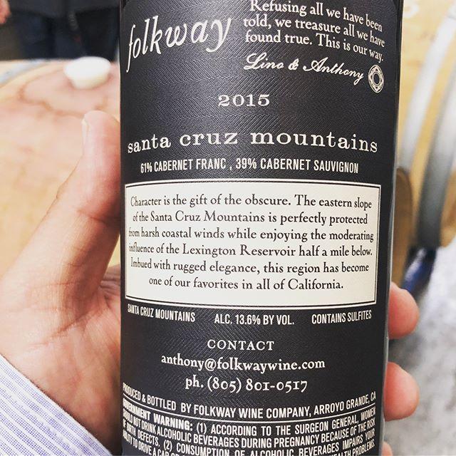 Santa Cruz Mountain Cabernet Franc/Cabernet Sauvignon. This blend is so elegantly delicious. #folkway #santacruzmountains