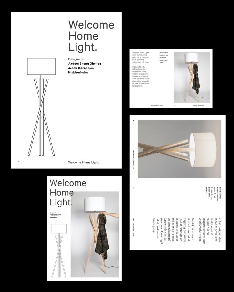 sketch fold out brochure for welcome home light jens obel