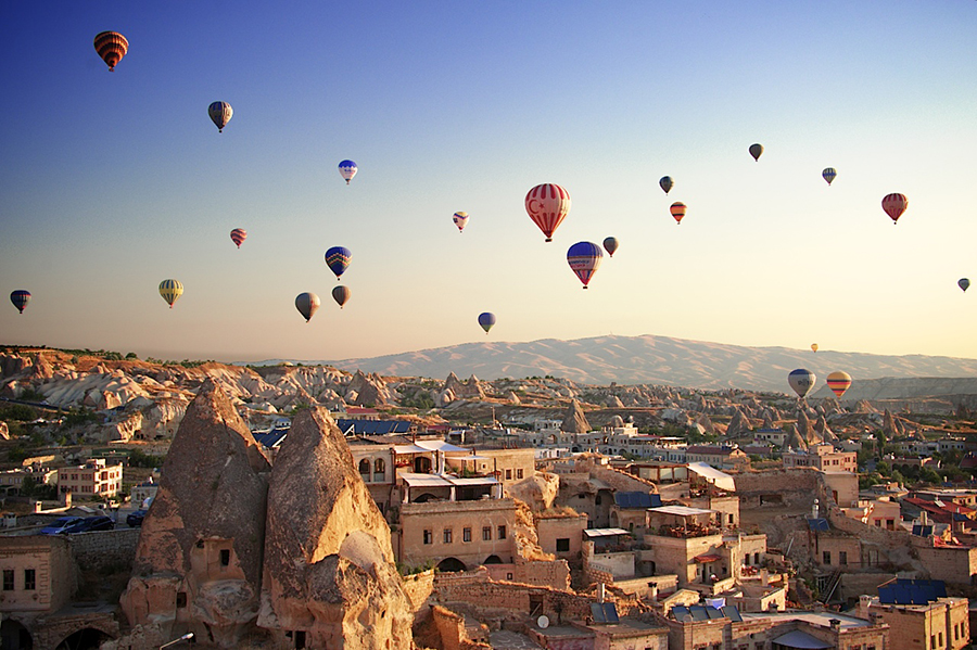 Balloon festival over the caves of Cappadocia, Turkey