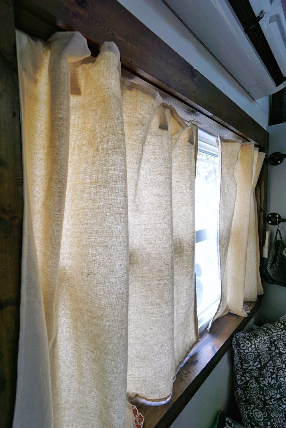Custom Tiny Home Living Windows Canvas Curtains Sewing Measuring