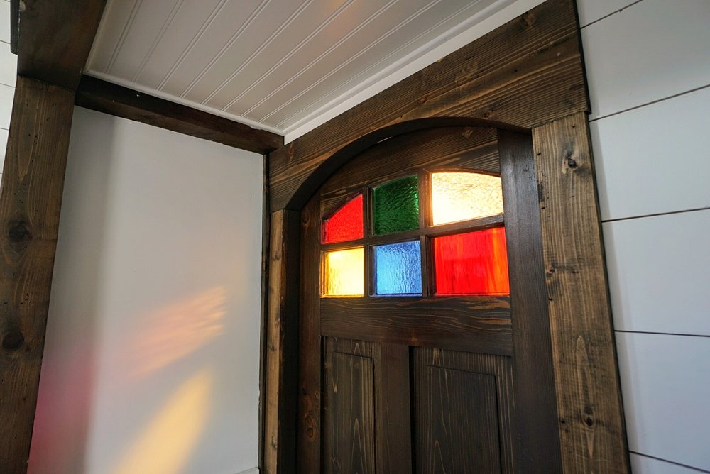 Tiny home Lighting LED bulb size lighting techniques LED tape lighting stain glass windows
