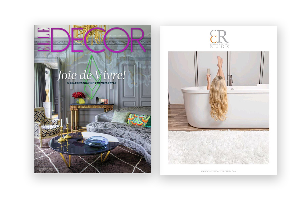 ELLE DECOR Magazine  - Ashley Huffman  - Custom Couture Rugs