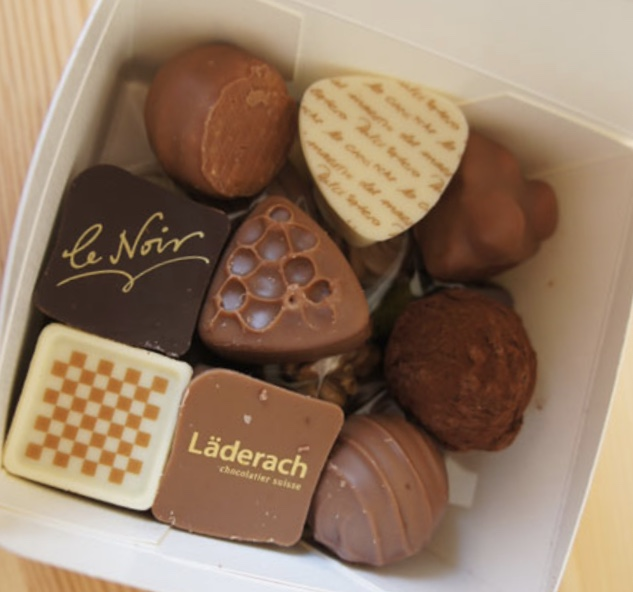 Läderach  chocolate can be found in their shops throughout Switzerland.  Looking is not calorie filled!