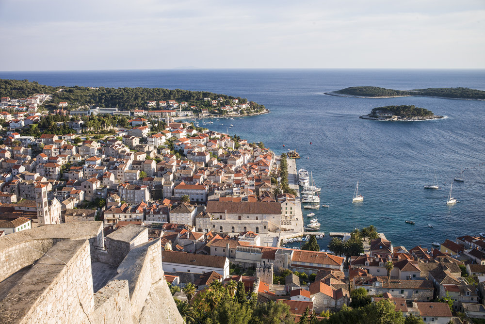 Hvar harbor as seen from Fordica or Tvrđava Španjola (Spanish Fort)