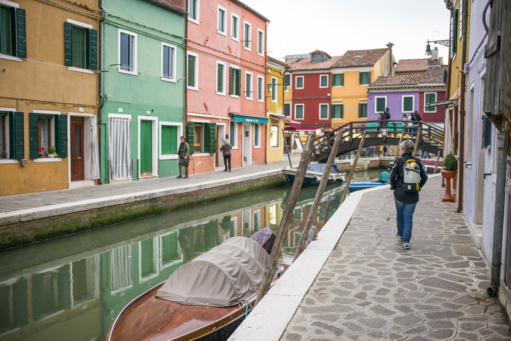 Walking the canal on Burano