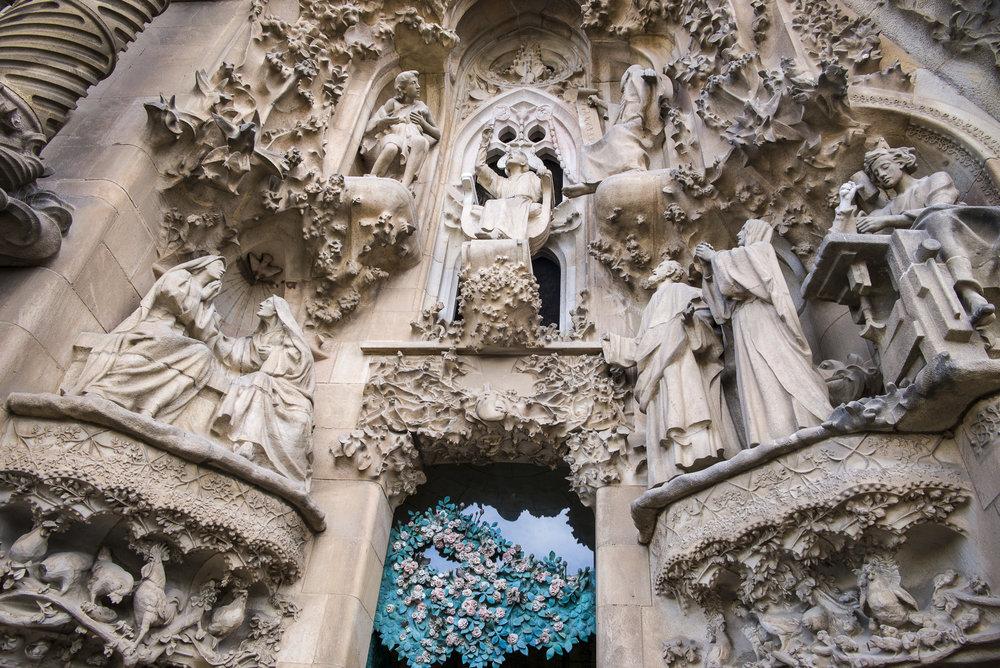 Over the entrance of La Sagrada Familia