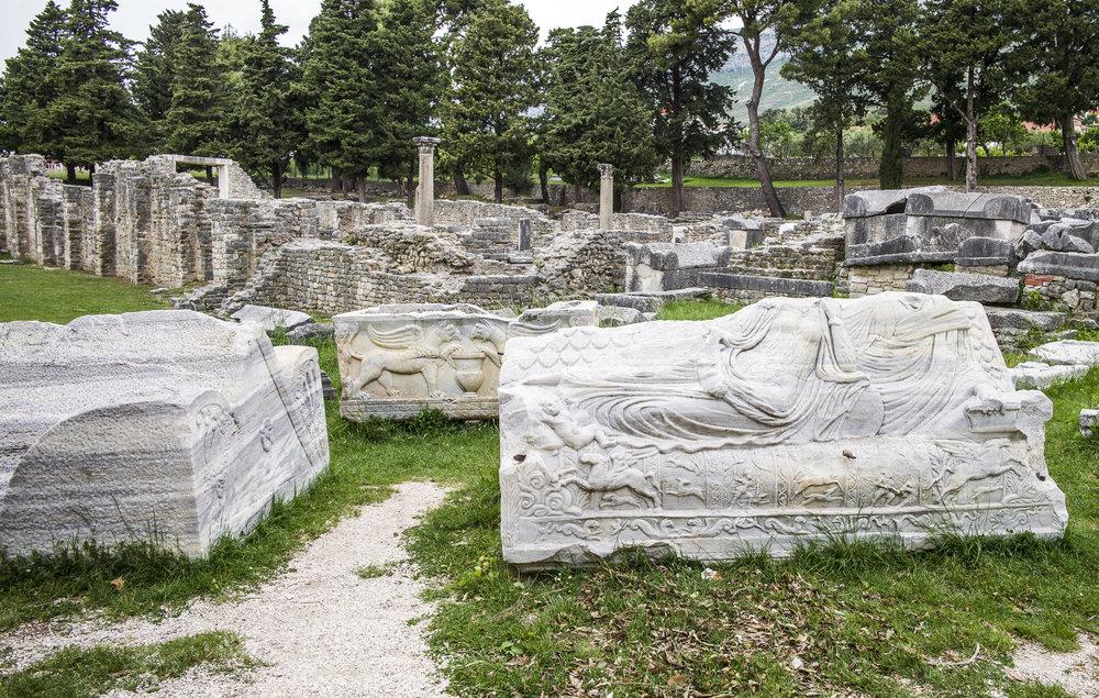 Sarcophagus at the ruins of Salona's necropolis