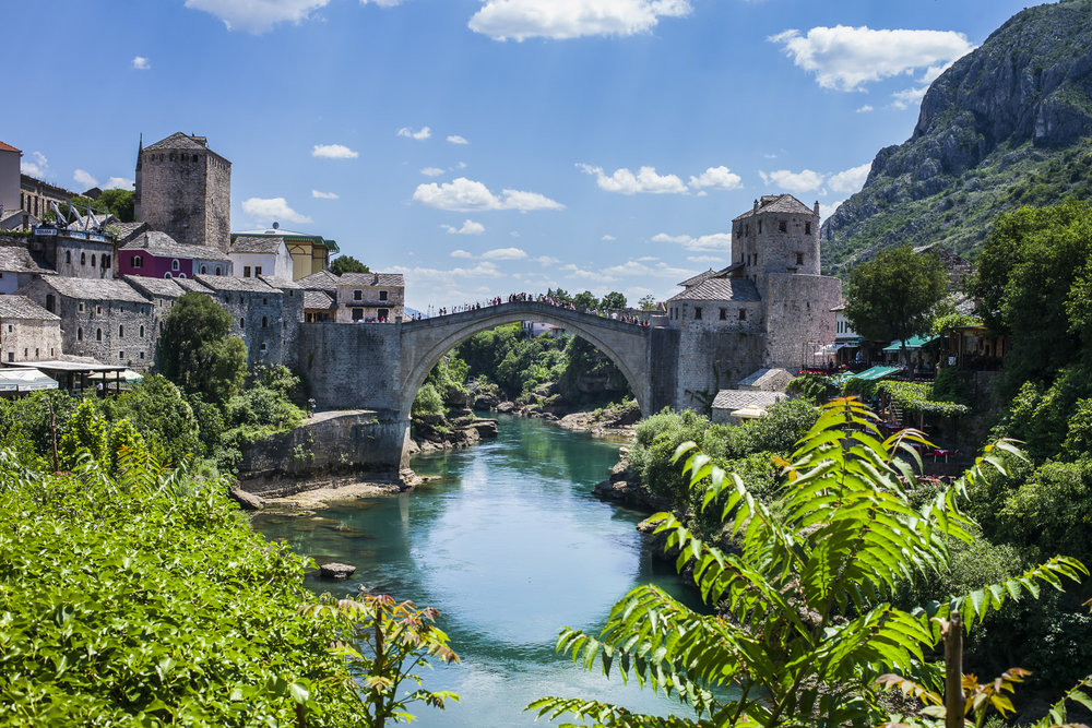 The Mostar Bridge was built in the 1500's by the Ottomans, destroyed in 1993 by the Croats, rebuilt in 2004, and is under Unesco protection since 2005