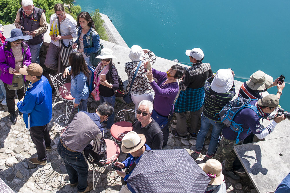 Crowds of tourists at Bled Castle