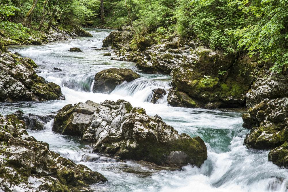 Cascades in Vintgar Gorge