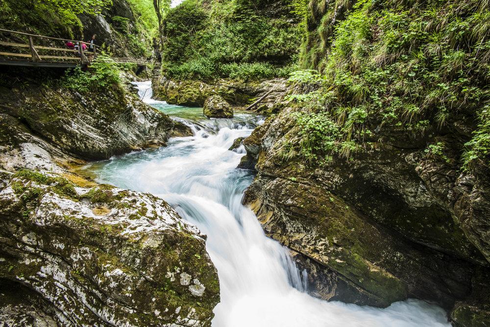 Waterfall in Vintgar Gorge