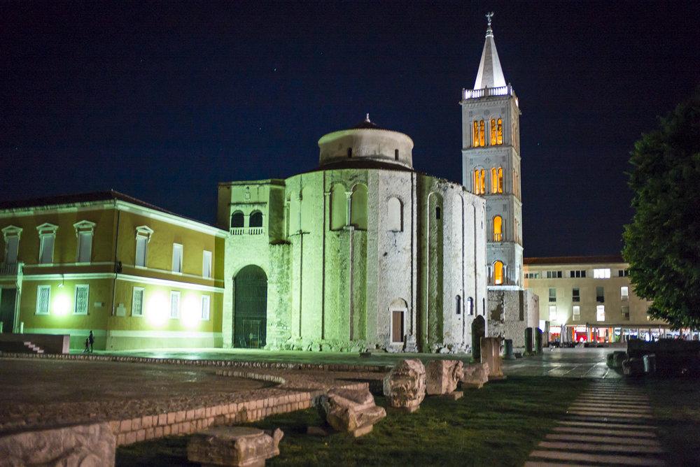 St. Donat Church at night