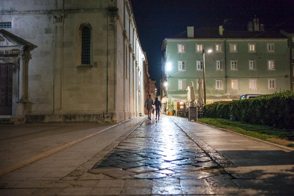 Zadar street at night