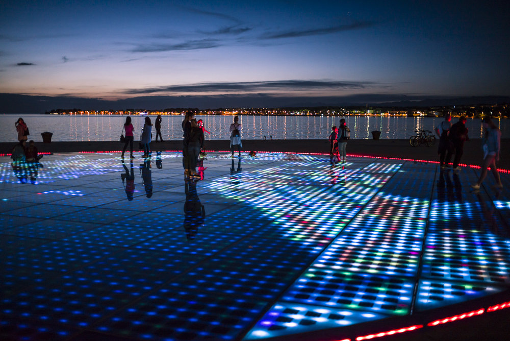 People lighting up Zadar's  Greeting to the Sun