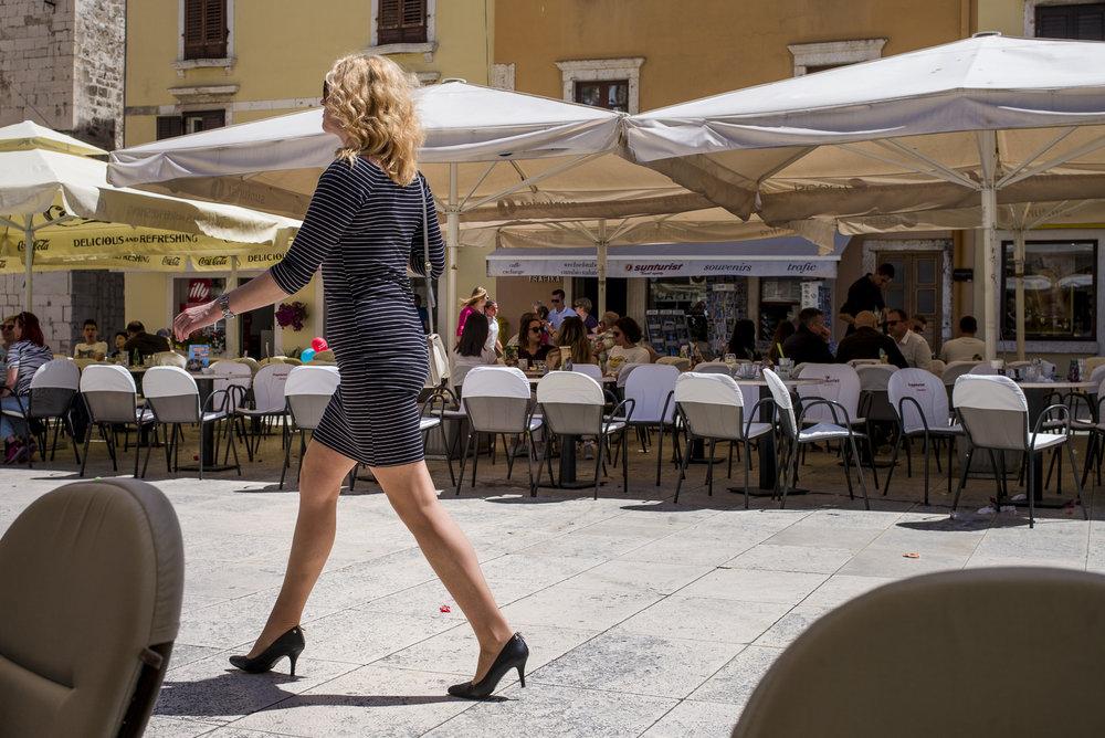 Dressed for the Saturday morning cafe scene in Zadar